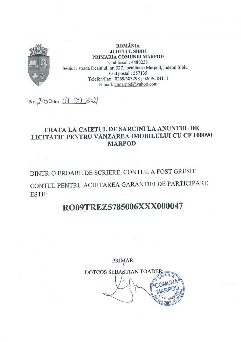 ANUNT IMPORTANT ERATA LA CAIETUL DE SARCINI LA ANUNTUL DE LICITATIE IMOBIL CF 100090 MARPOD