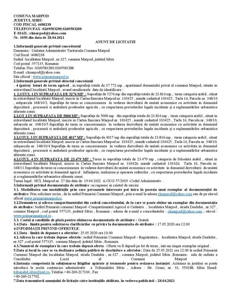 ANUNT DE LICITATIE PUBLICA privind concesionarea a 4 loturi de teren agricol situate in extravilanul comunei Marpod
