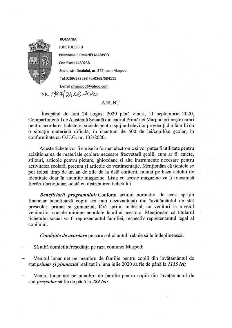 Anunț privind cererile pentru acordarea tichetelor sociale