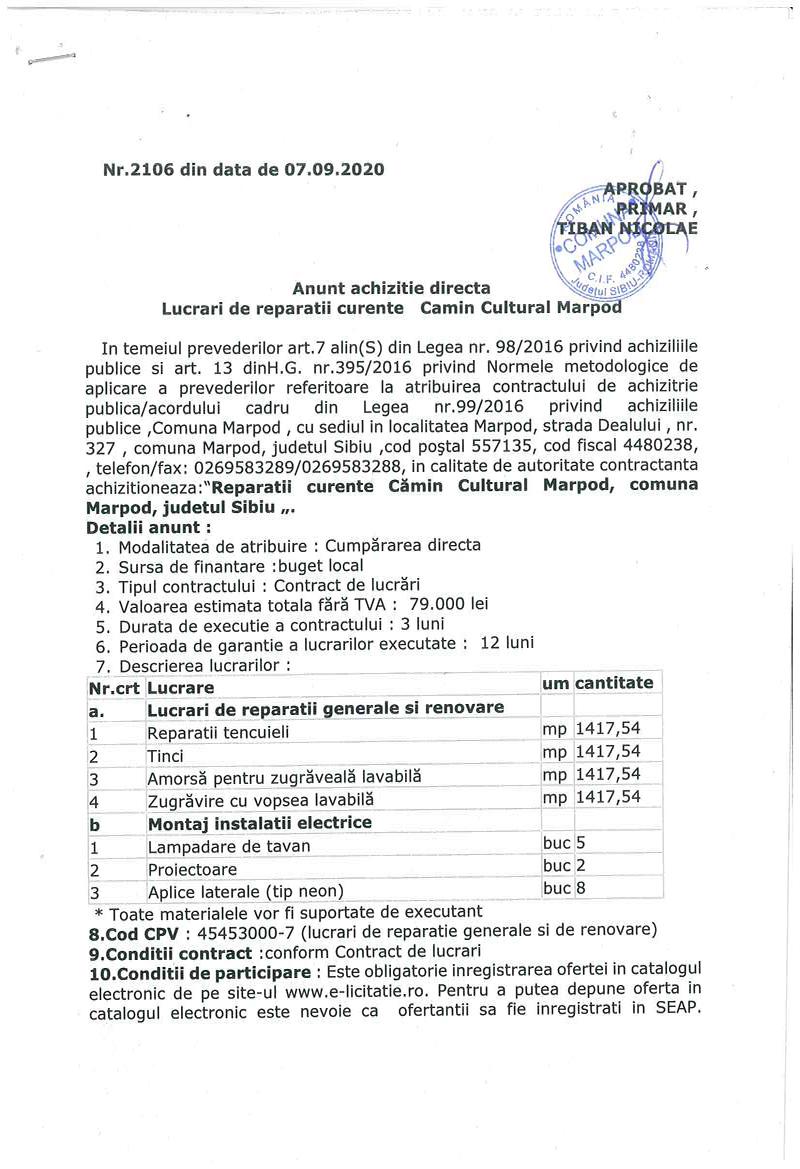 """Achizitie directa """"Reparatii curente Cămin Cultural Marpod, comuna Marpod, judetul Sibiu """"."""