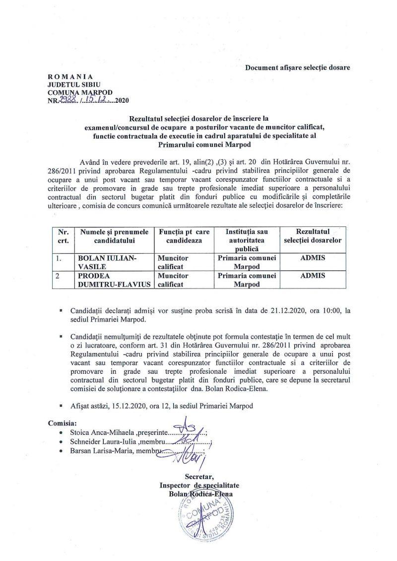 Rezultatul selectiei dosarelor de inscriere la concursul de ocupare a posturilor vacante de muncitor calificat, functie contractuala de executie