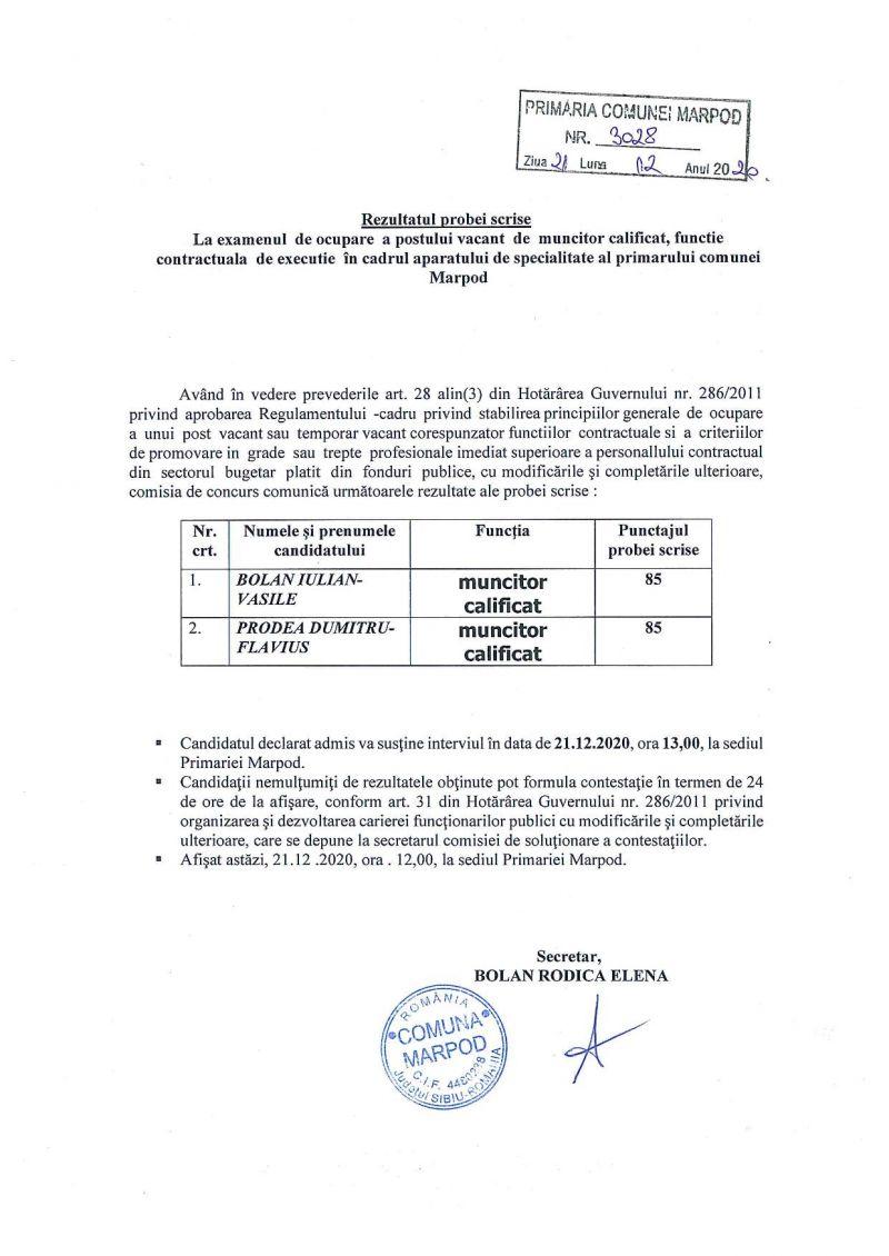 Rezultatul probei scrise la concursul pentru postul muncitor calificat