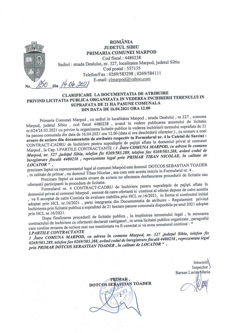 CLARIFICARE LA DOCUMENTATIA DE ATRIBUIRE PRIVIND LICITATIA PUBLICA ORGANIZATA IN VEDEREA INCHIRIERII TERENULUI IN SUPRAFATA DE 21 HA PASUNE COMUNALA DIN DATA DE 16.04.2021 ORA 12